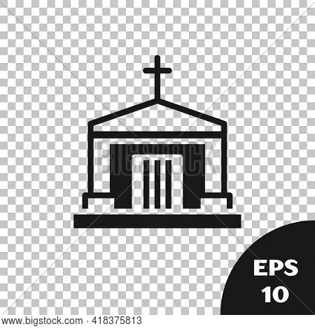 Black Old Crypt Icon Isolated On Transparent Background. Cemetery Symbol. Ossuary Or Crypt For Buria