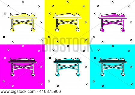Set Dead Body In The Morgue Icon Isolated On Color Background. Vector