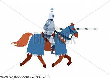 Medieval Knight Horseman Armed With Lance, Flat Vector Illustration Isolated.