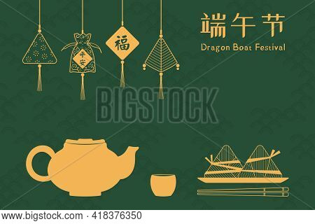 Zongzi Dumplings, Fragrant Sachets With Text Safe, Fortune, Chinese Text Dragon Boat Festival, Gold