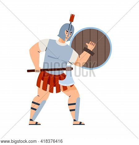 Greek Or Roman Warrior In Armour And Helmet, Flat Vector Illustration Isolated.