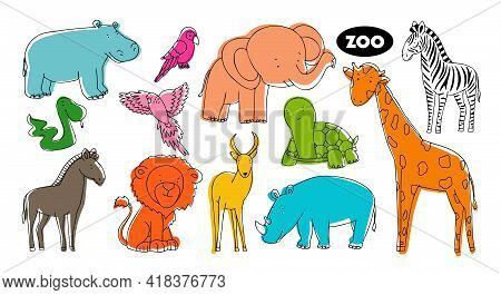 Set Of Vector Animals In The Style Of Doodle From The Zoo. Animals Of Bright Colors Of A Gall, A Gir