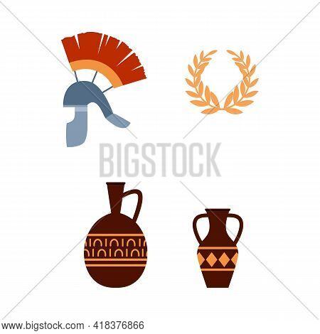Ancient Roman Historical And Cultural Items Flat Vector Illustration Isolated.