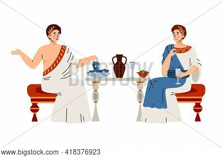 Citizens In Traditional Clothes Ancient Rome Eat Fruit, Drink Wine And Talking