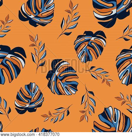 Contemporary Tropical Seamless Pattern. Abstract Terracotta Pastel Hand Drawn Palm, Monstera Leaves