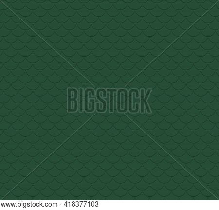 Dragon, Fish Scales Abstract Geometric Seamless Pattern, Dark And Light Green Background. Eastern St