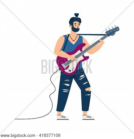 Rock Guitarist Character Performing On Stage, Flat Cartoon Vector Illustration.