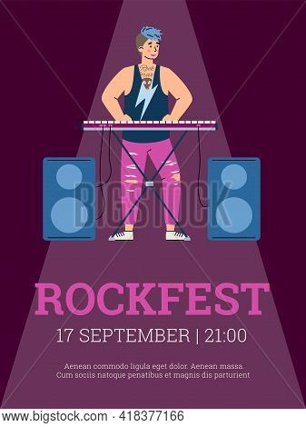 Rock Concert, Musical Festival With Performance Celebrity Musicians Music Bands.