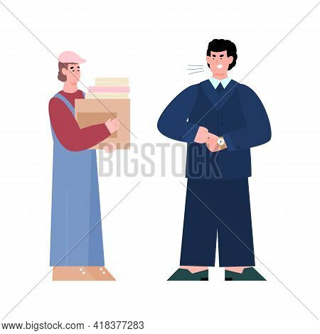 Boss Business Man Angry Shouting On Unhappy Worker A Vector Illustration.