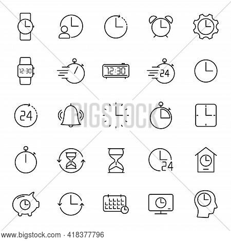 Time And Clock Outline Vector Icons Isolated On White. Time And Clock Icon Set For Web And Ui Design
