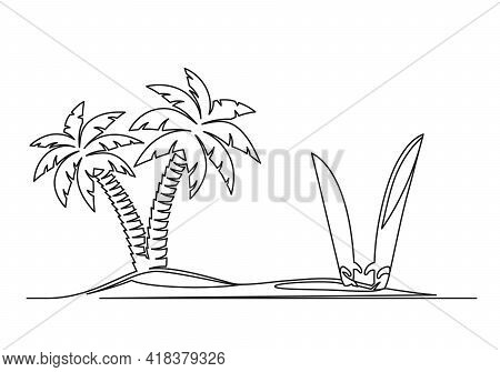 Continuous One Line Drawing Of An Island With Palm Trees And Surfboards. Travel Concept. Island With