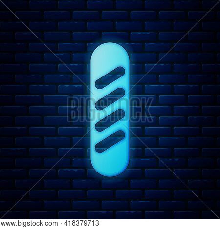 Glowing Neon French Baguette Bread Icon Isolated On Brick Wall Background. Vector