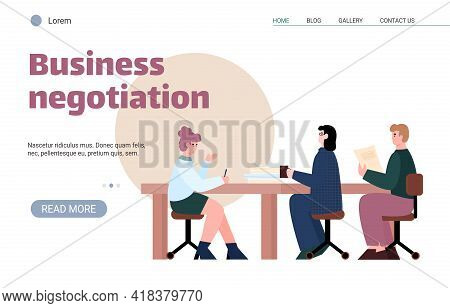 Business Negotiations Website Banner Template With Business People Sitting At Table, Cartoon Vector