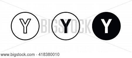 Y Letter Logo, Letter Y Icons Button, Vector, Sign, Symbol, Illustration, Editable Stroke, Flat Desi