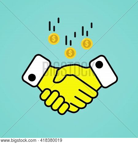 Handshake With Falling Coins Or Business Concept Illustration Line Icon In Color. Linear Isolated Si