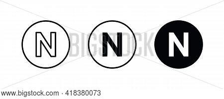 N Letter Logo, Letter N Icons Button, Vector, Sign, Symbol, Illustration, Editable Stroke, Flat Desi