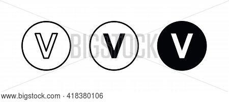 V Letter Logo, Letter V Icons Button, Vector, Sign, Symbol, Illustration, Editable Stroke, Flat Desi