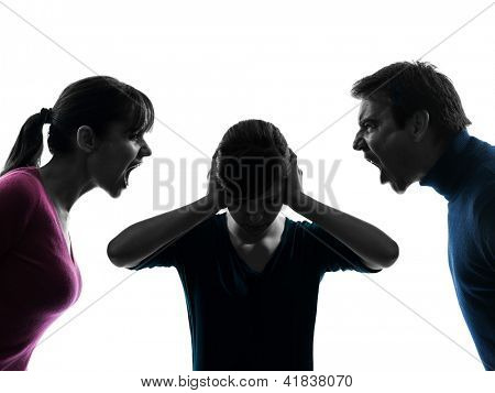 one caucasian family father mother daughter dispute screaming  in silhouette studio isolated on white background
