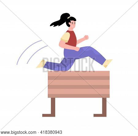 Female Athlete Taking Part In Sport Competition Obstacle Run And Jump.