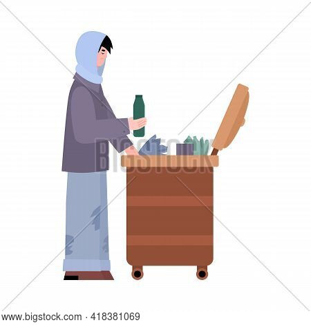 Homeless Poor Man Looking For Food Leftovers, Flat Vector Illustration Isolated.