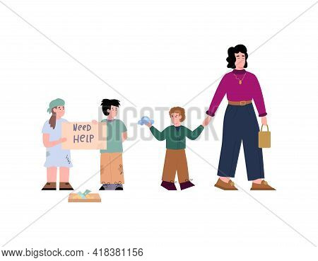 Poor Kids And Children From Wealthy Family, Flat Vector Illustration Isolated.