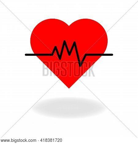 Medicine Modern Heart Beat Or Heartbeat Color Icon. Cardiogram, Pulse, Rhythm, Ekg Signal. Isolated