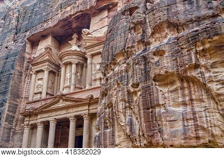 Detail Of The Facade Of The Treasury In Petra