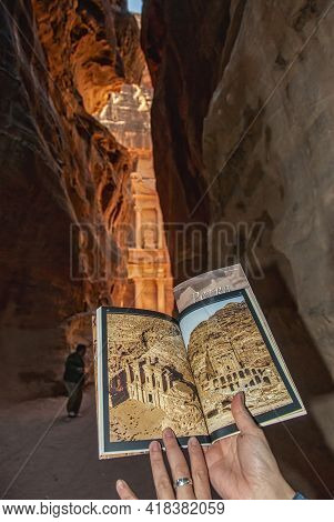 Having A Look At The Brochure Of Petra From The Siq, The Treasury Can Be Seen At The End Of The Cany