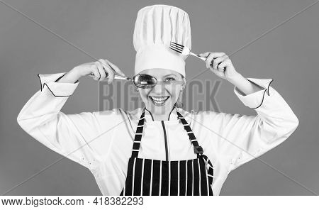 Professional Chef Woman. Ready For Eating. Lets Cook. Happy Cook Use Spoon And Fork. Dinner Preparat
