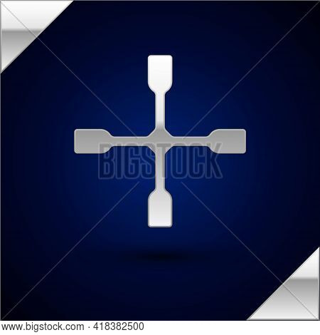 Silver Wheel Wrench Icon Isolated On Dark Blue Background. Wheel Brace. Vector