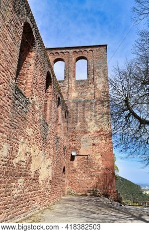Outer Wall Of Ruin Of Limburg Abbey In Palatinate Forest In Bad Dürkheim City In Germany
