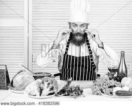 Guy In Professional Uniform Ready Cook. Master Chef Concept. Culinary Is Exciting. Chef Handsome Hip