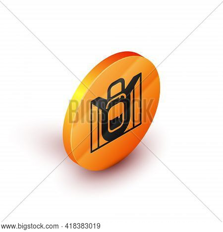 Isometric Hiking Backpack Icon Isolated On White Background. Camping And Mountain Exploring Backpack