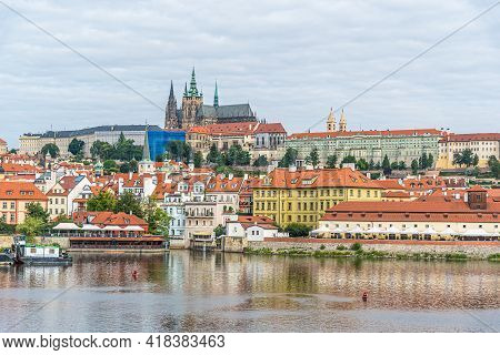 View Of Prague. Mala Strana And Vltava River In Summer Time