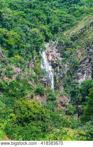 São Roque De Minas - Mg, Brazil - December 15, 2020: Far View Of Capão Forro Waterfall At The Capão