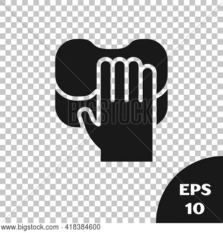 Black Cleaning Service Icon Isolated On Transparent Background. Latex Hand Protection Sign. Housewor