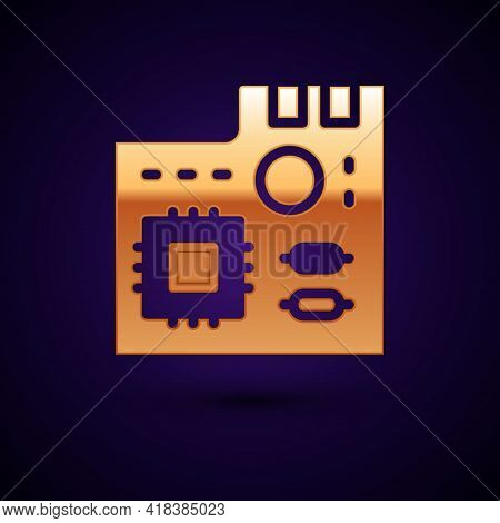 Gold Electronic Computer Components Motherboard Digital Chip Integrated Science Icon Isolated On Bla