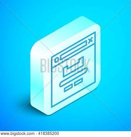 Isometric Line Browser Window Icon Isolated On Blue Background. Silver Square Button. Vector Illustr
