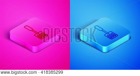Isometric Line Spatula Icon Isolated On Pink And Blue Background. Kitchen Spatula Icon. Bbq Spatula