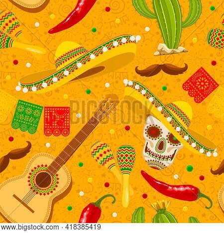 Cinco De Mayo Seamless Pattern With Traditional Mexican Sombrero, Perforated Paper Flags, Maracas An