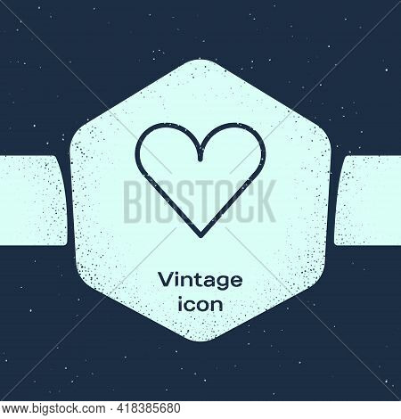 Grunge Line Heart Icon Isolated On Blue Background. Romantic Symbol Linked, Join, Passion And Weddin