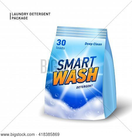 Realistic Soft Container For Detergent. Detergent Package Template With Designed Logo And Realistic
