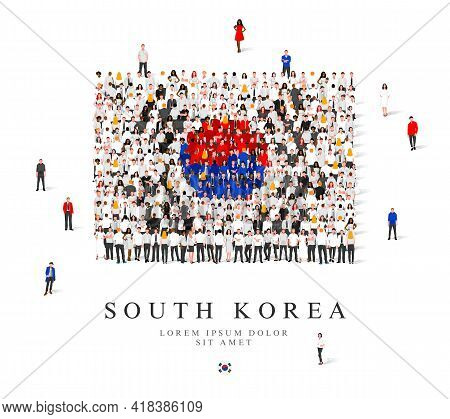 A Large Group Of People Are Standing In Black, White, Blue And Red Robes, Symbolizing The Flag Of So