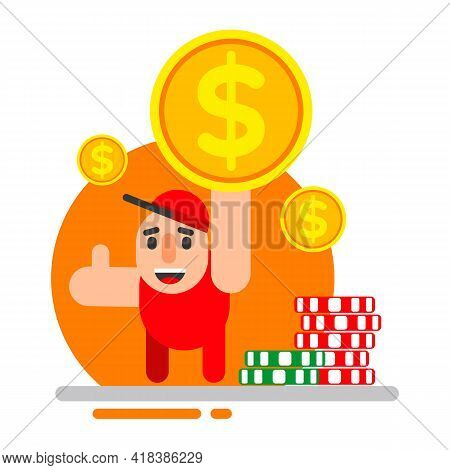 Casino Win, Money Prize. A Happy Guy Hold A Gold Coin Dollar Winning Lottery Bill And Show Gesture T