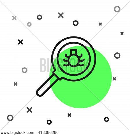 Black Line Flea Search Icon Isolated On White Background. Vector