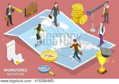 3d Isometric Flat Vector Conceptual Illustration Of Workforce Migration.