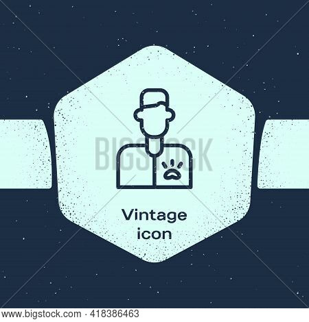 Grunge Line Veterinarian Doctor Icon Isolated On Blue Background. Monochrome Vintage Drawing. Vector