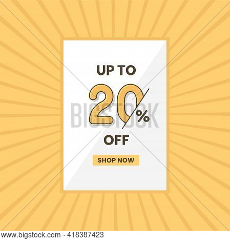Up To 20% Off Sales Offer. Promotional Sales Banner Up To 20% Discount Offer