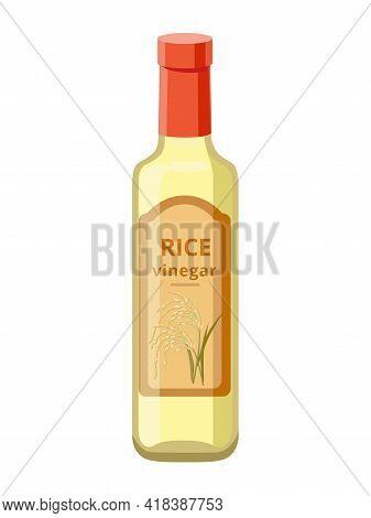 Glass Rice Vinegar Bottle Isolated On White Background. Vector Illustration Isolated On White Backgr