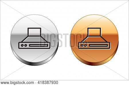 Black Line Kitchen Extractor Fan Icon Isolated On White Background. Cooker Hood. Kitchen Exhaust. Ho